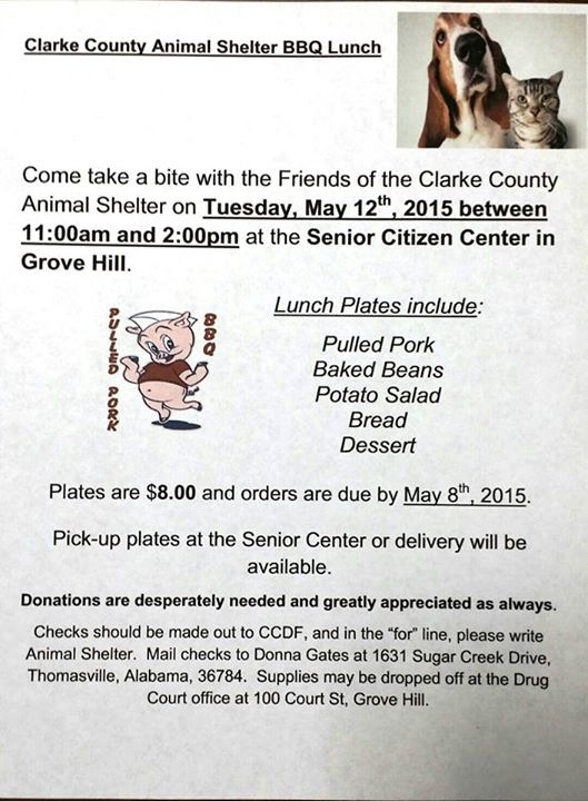 Animal Shelter BBQ Lunch Clarke County, Alabama